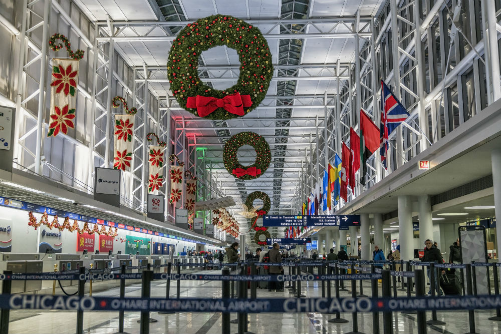 Chicago O'Hare International Airport decorated for Christmas