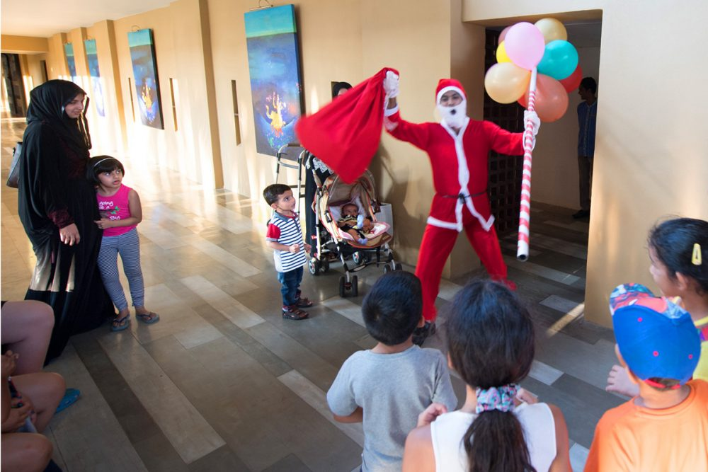 A 130-pound Santa arrived at our hotel on Christmas Eve, thrilling young guests of all religions.