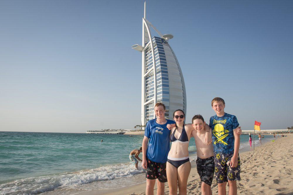 Burj al Arab beach with kids