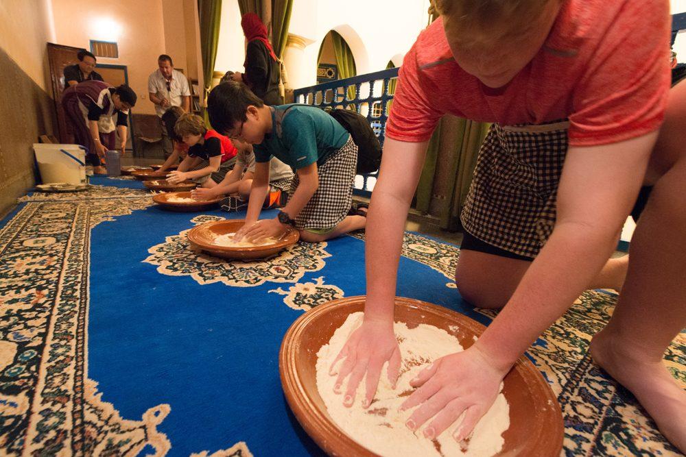 Morocco boys making bread