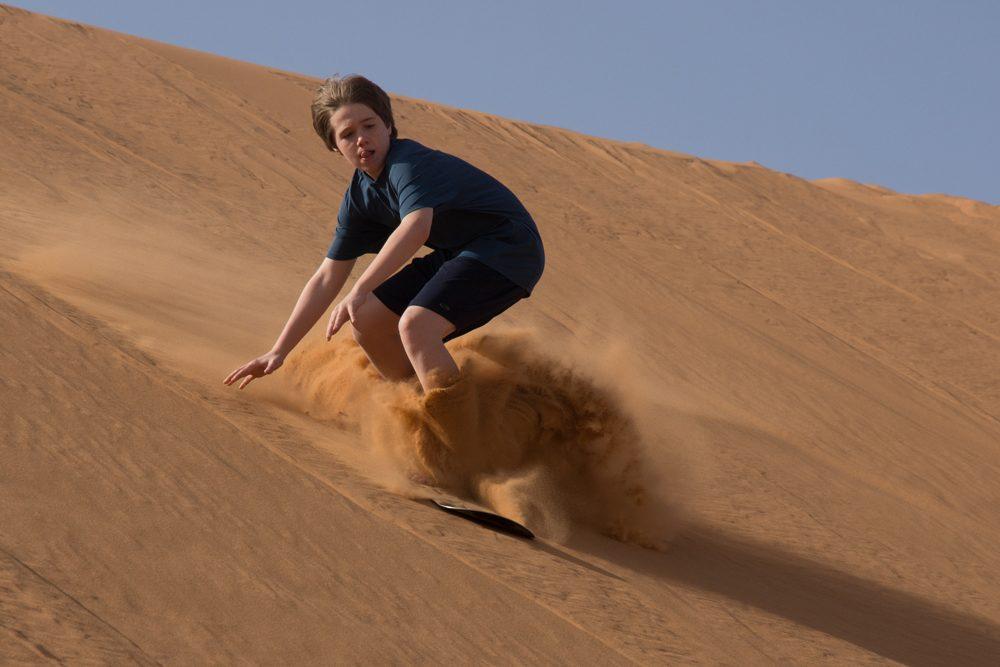 Morocco desert sandboarding