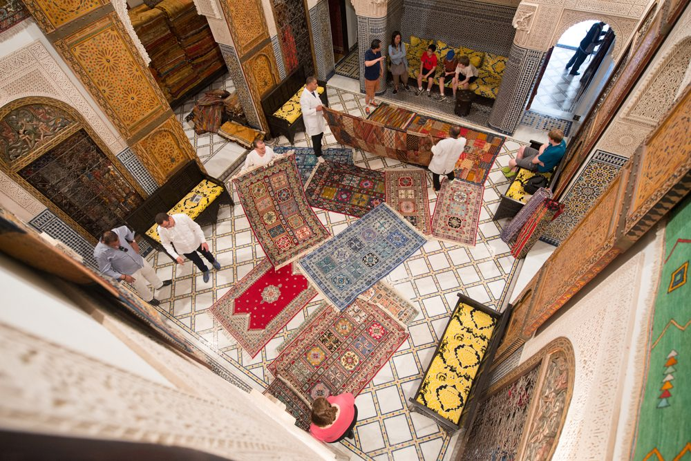Morocco Fez carpet store aerial view