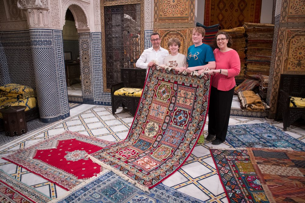Morocco Fez carpet store Wendy and boys