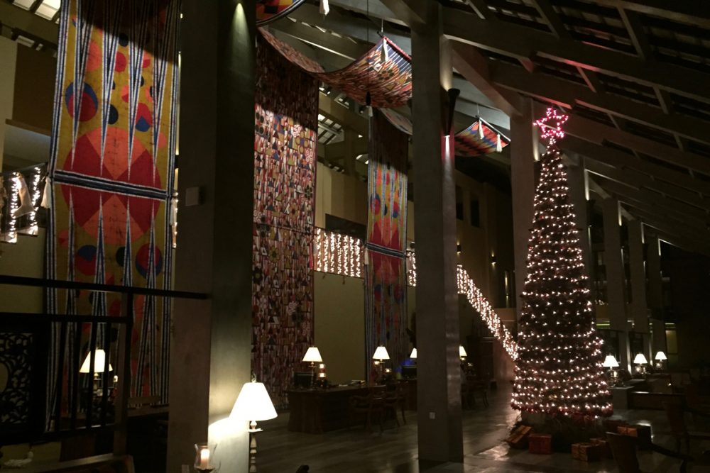 In the lobby on Christmas night, a blend of East meets West.