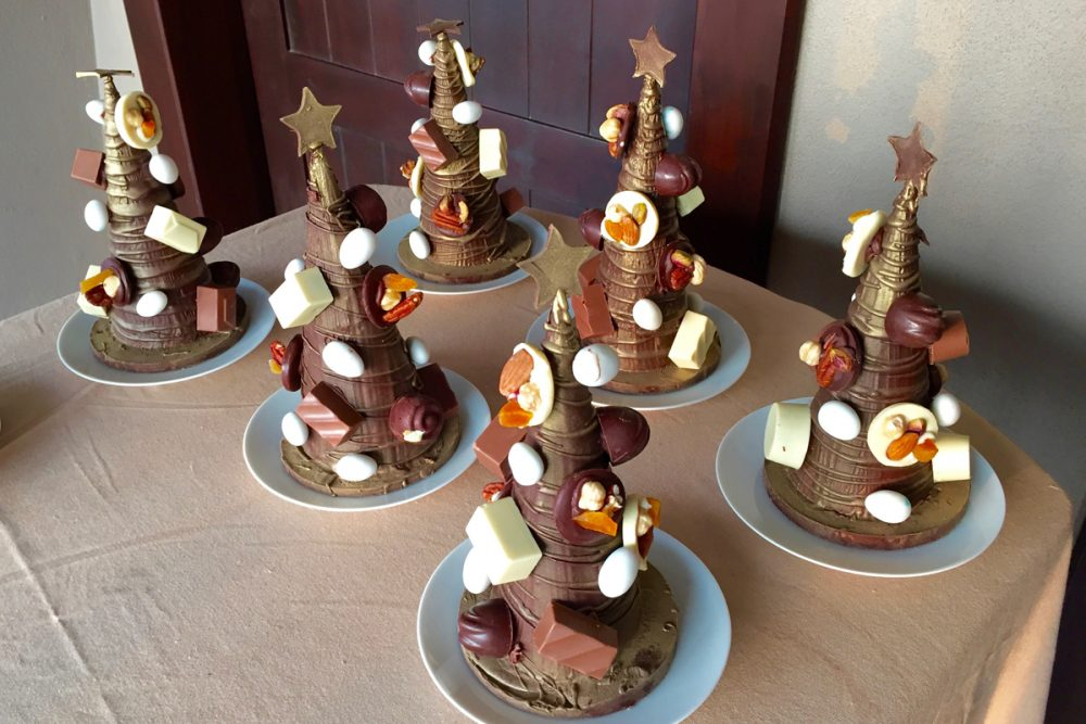 More of those chocolate Christmas trees, to be delivered to each guest room. Yum.