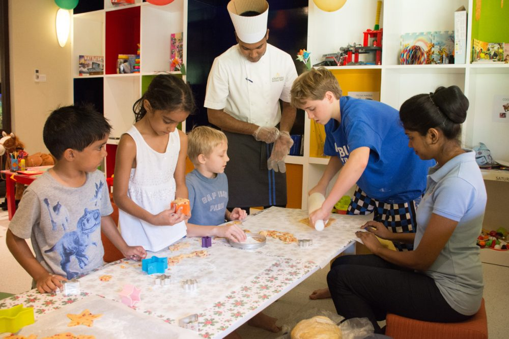 The kids got to make Christmas cookies in the kids' club.