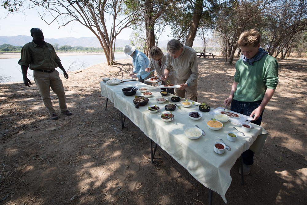 Zambia pizza lunch in the bush