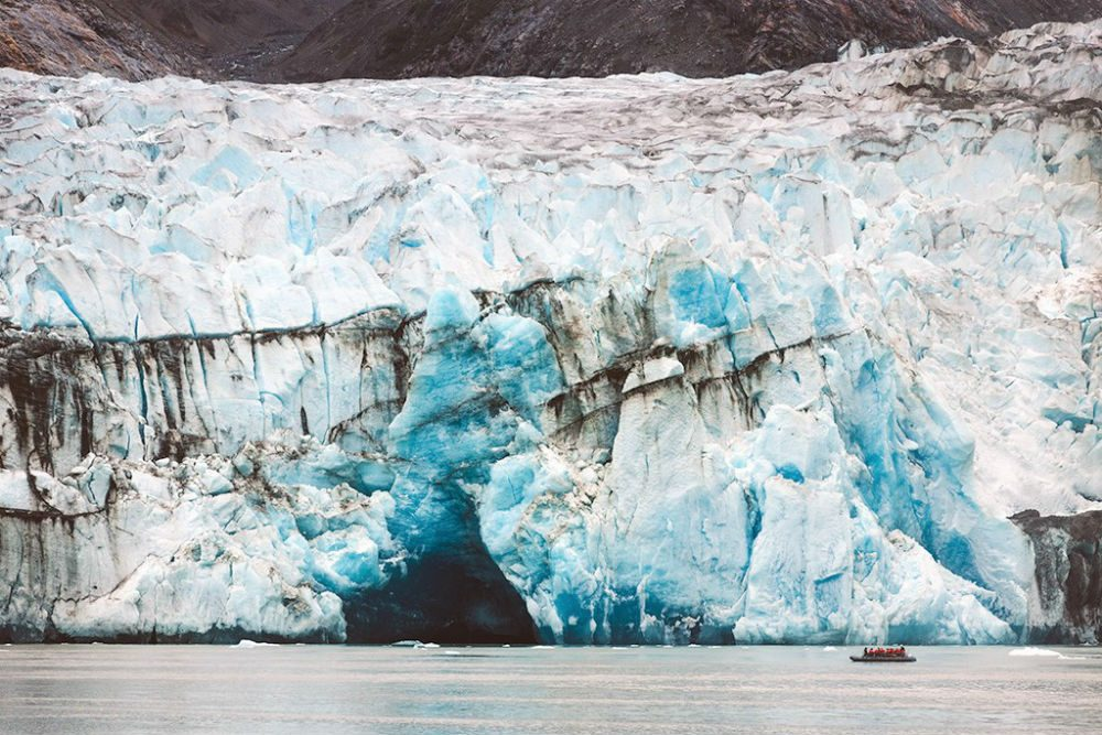 a blue-ish glacier in Alaska