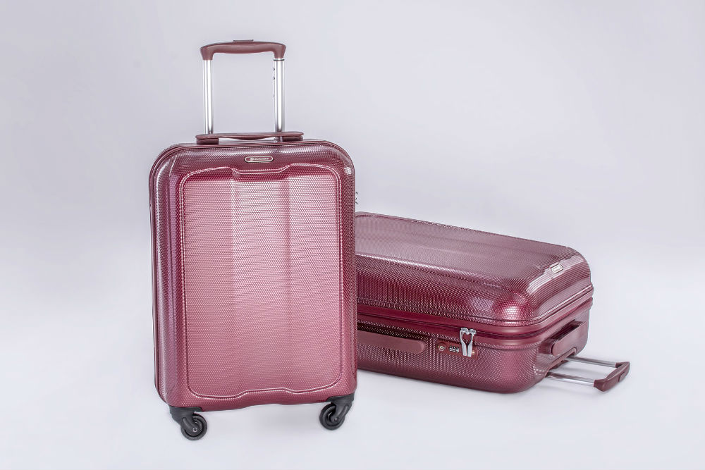 purple carry-on luggage roller bags
