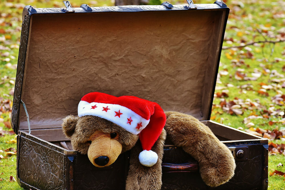 stuffed bear wearing a christmas hat is inside an open suitcase