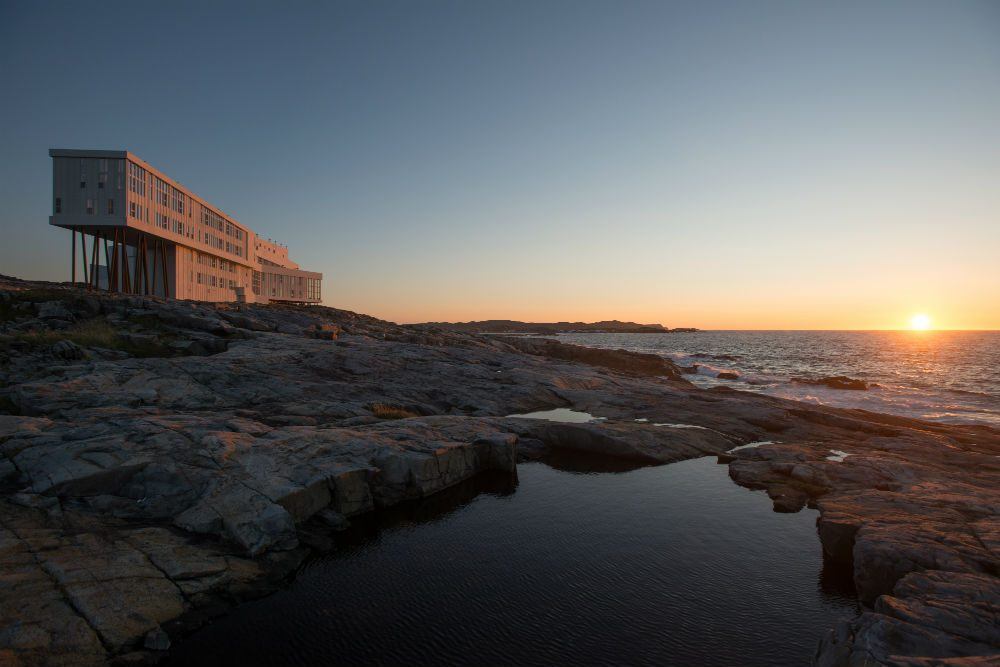 Fogo Island Inn at sunset.