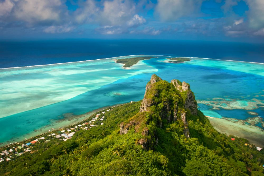 View on the peak mountain, Maupiti, French Polynesia.