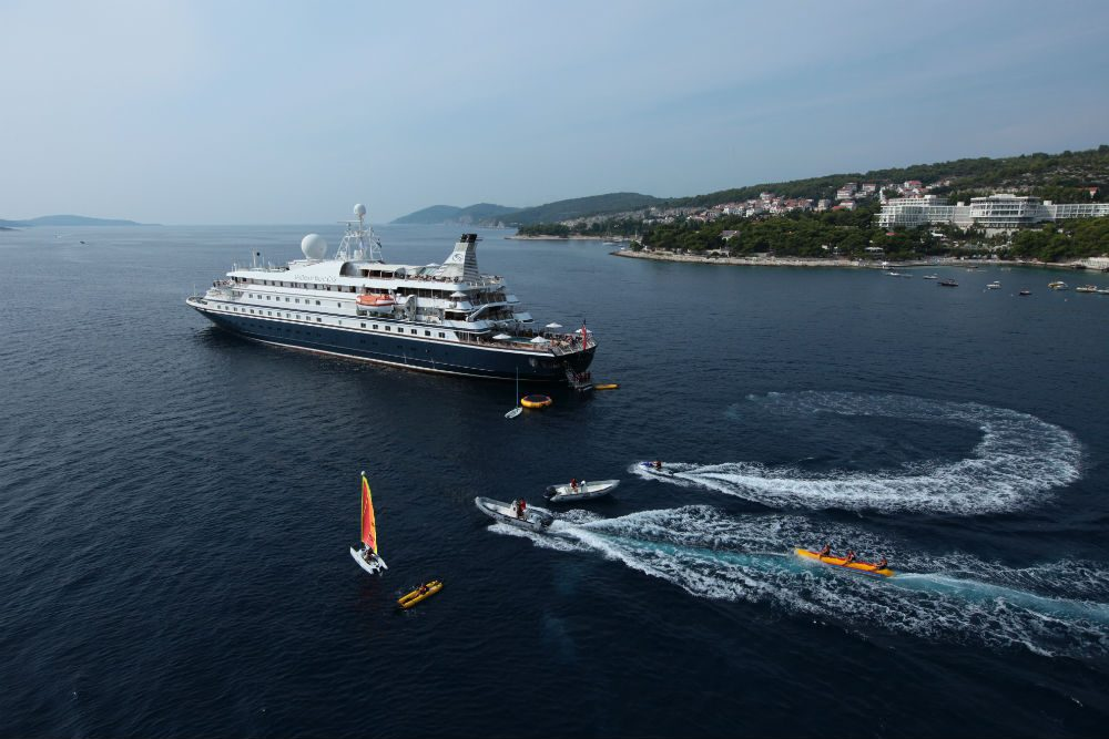 sea dream cruise ship offers watersports off the back of the boat in Hvar Croatia