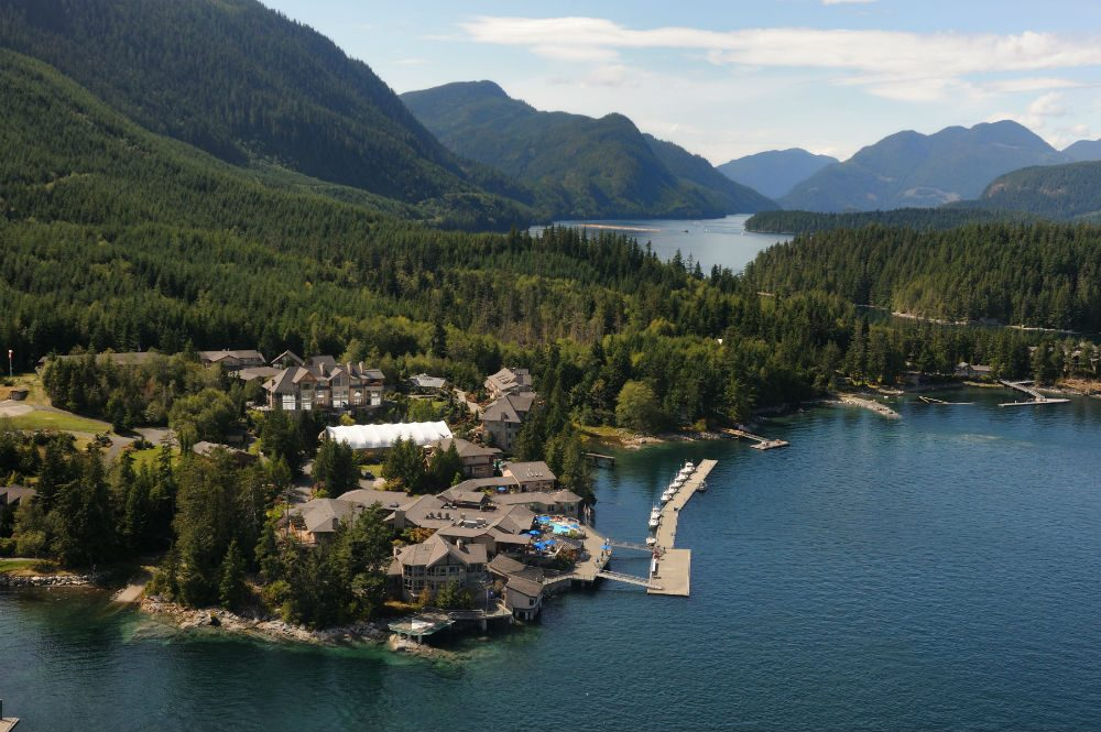 aerial view of Sonora Resort in the Discovery Islands, British Columbia