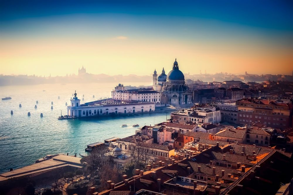 aerial view of Venice Italy and surrounding water