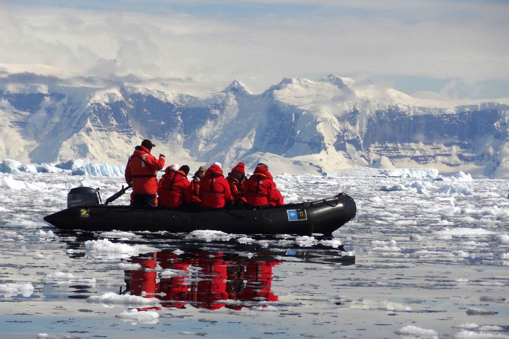 Zodiac cruise through the ice, Antarctica. Photo: Abby Suplizio
