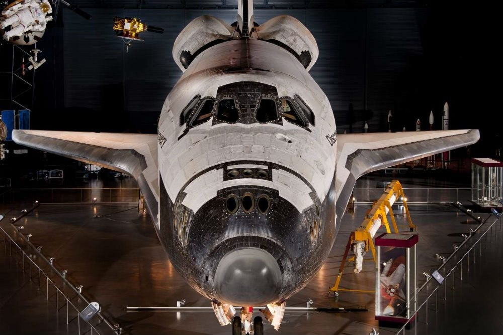 The space shuttle Discovery is on display at the National Air and Space Museum in Washington, D.C.