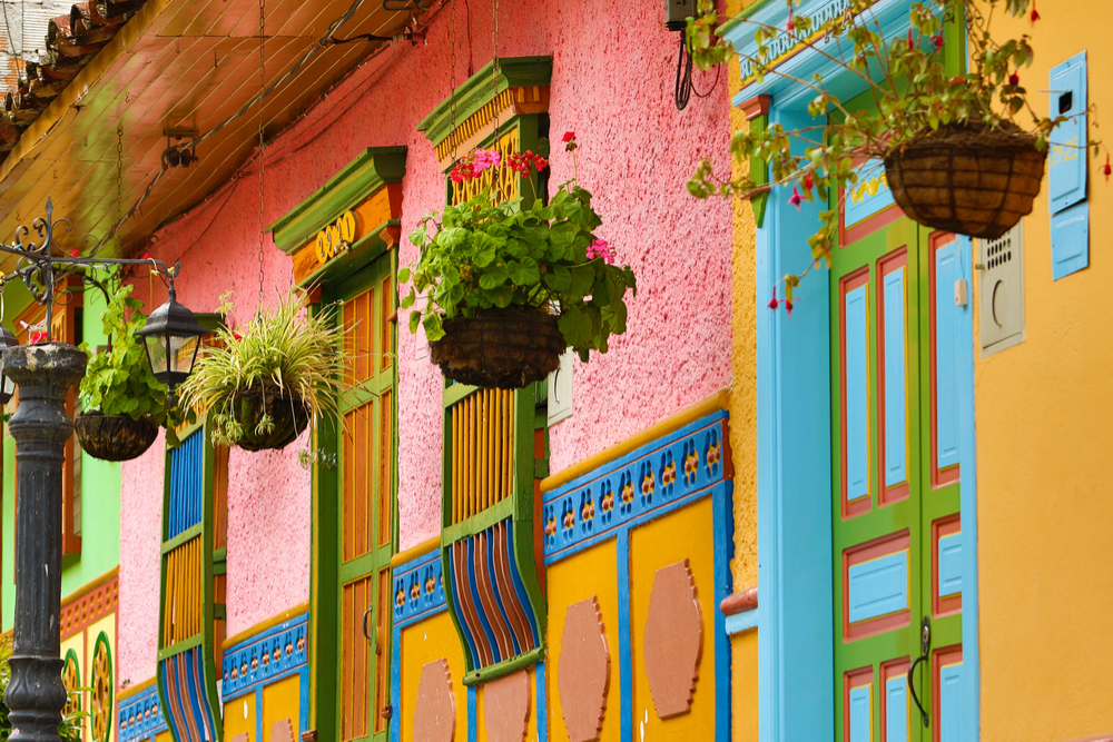 colorfully painted walls on a block of Cartagena Colombia