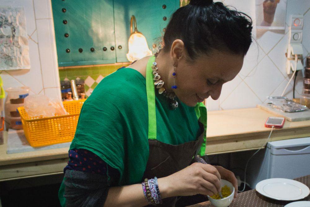 Chef Najat Kaanache prepares dinner at Nur, her restaurant in the Fez Medina, Morocco
