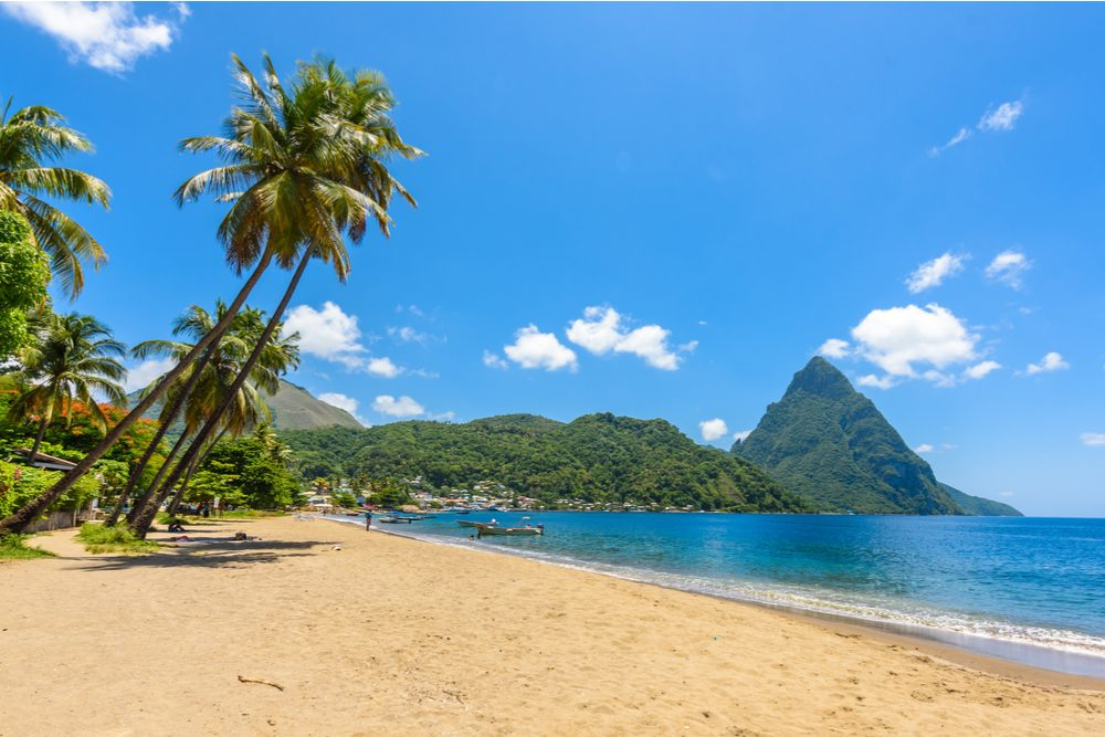 St Lucia beach with Pitons mountains in the background