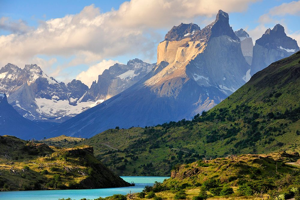 Torres del Paine National Park, Patagonia landscape with mountains and lake