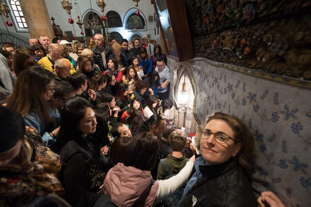 crowd at the Church of the Nativity in Bethlehem Israel