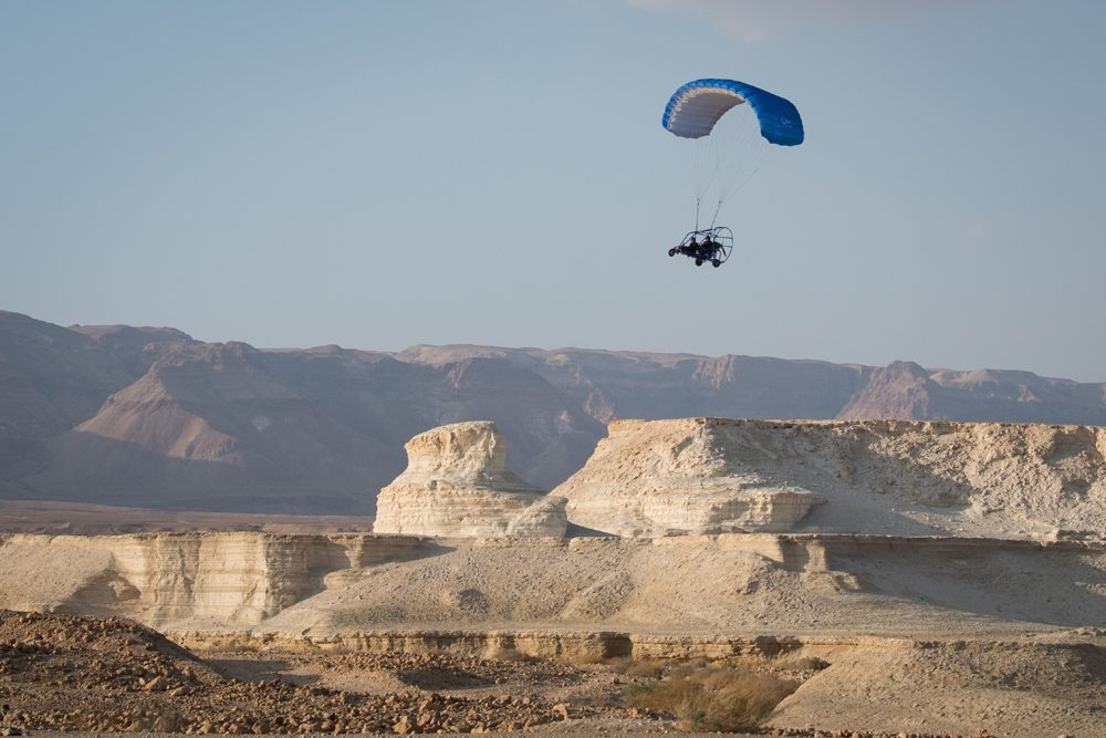 Powered paragliding over Masada Israel