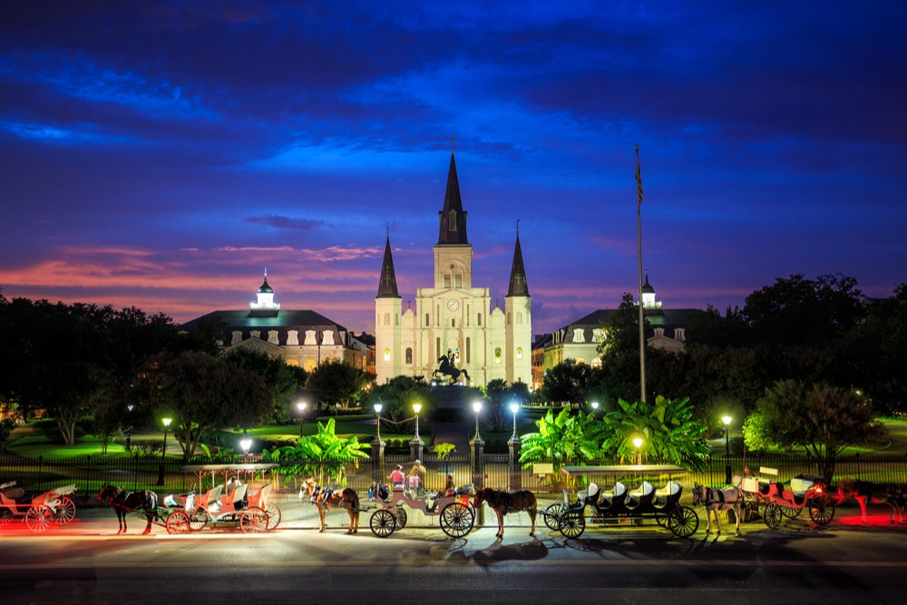 St. Louis Cathedral and Jackson Square in New Orleans, Louisiana, United States at sunset