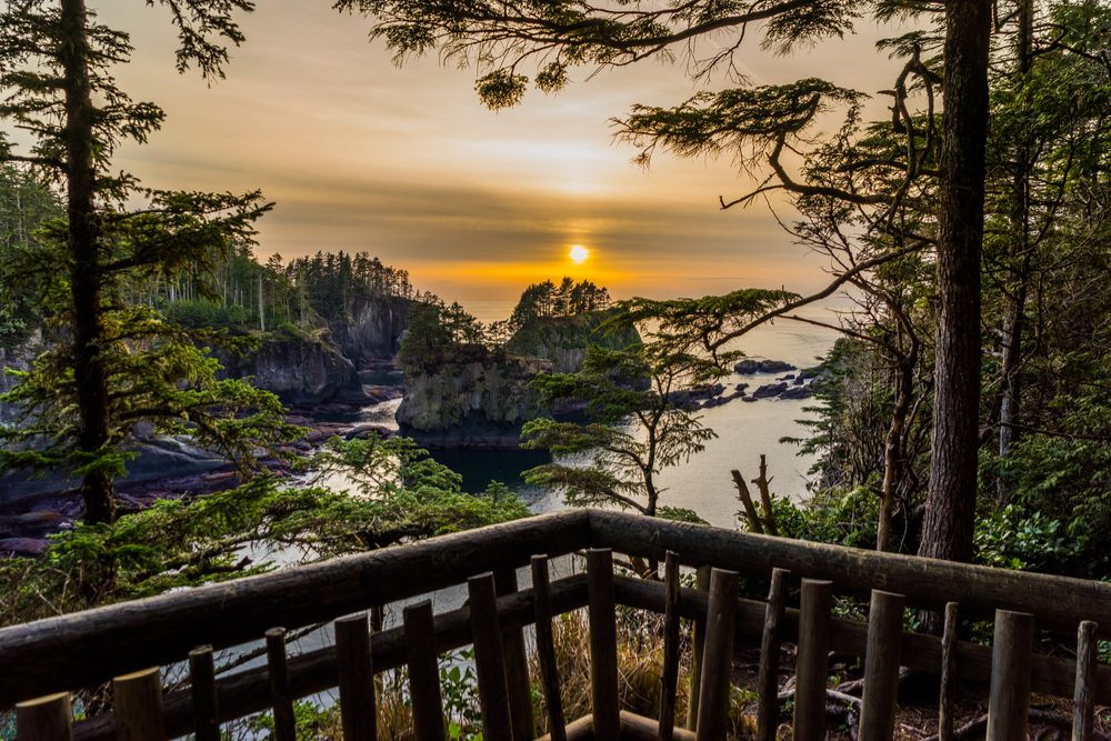 A beautiful sunset on the ocean among the rocks, Cape flattery trail , Olympic Peninsula, Washington state