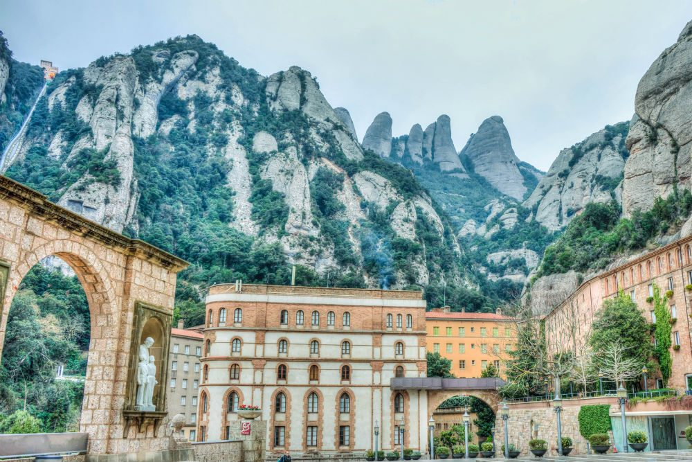Spain town of Montserrat surrounded by rocky mountains