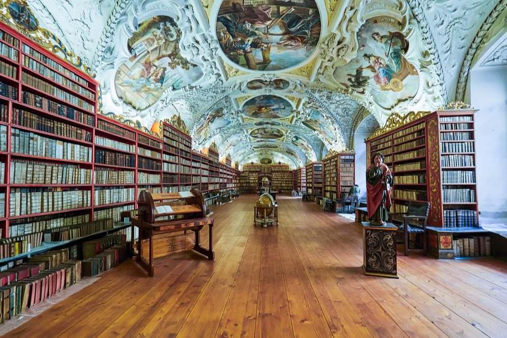 PRAGUE, CZECH REPUBLIC - mathematical hall of the Strahov convent library