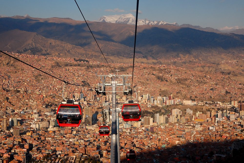 aerial view of The cable car in La Paz, Bolivia.