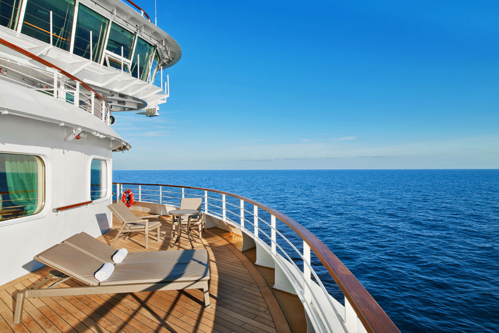 The veranda of a Signature Suite on the Seabourn Ovation cruise ship