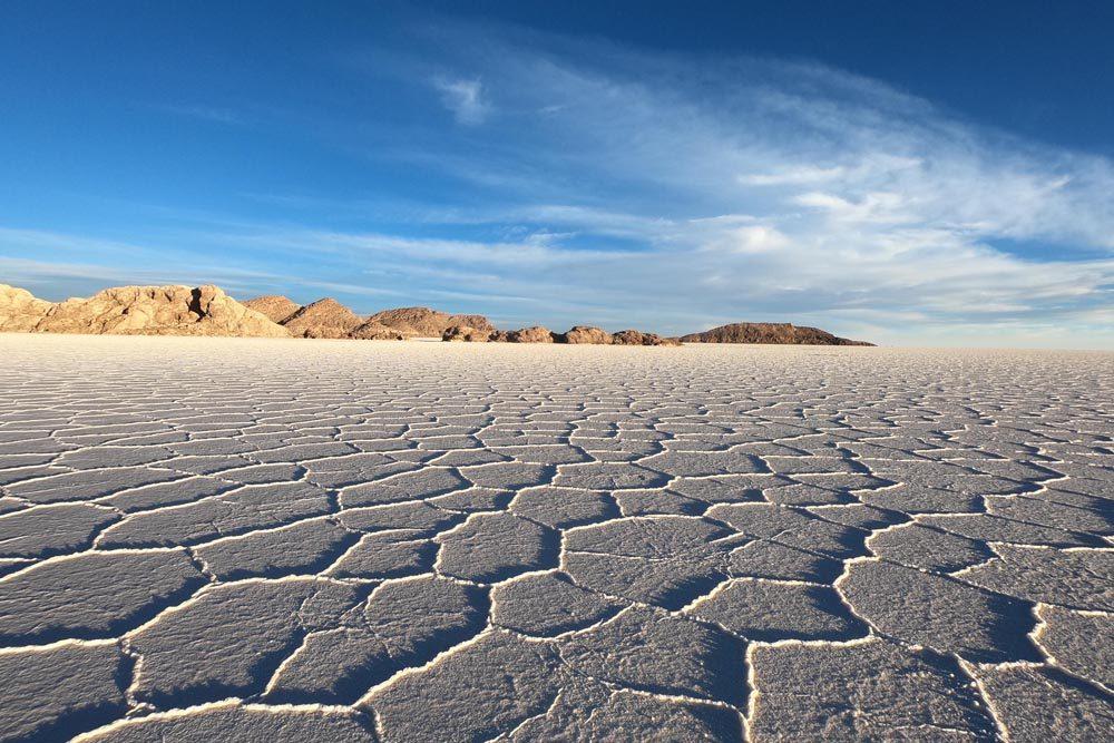 cracked salt landscape of Uyuni salt flats Bolivia