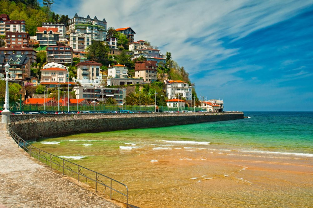 Beach and colorful houses of San Sebastian, Spain