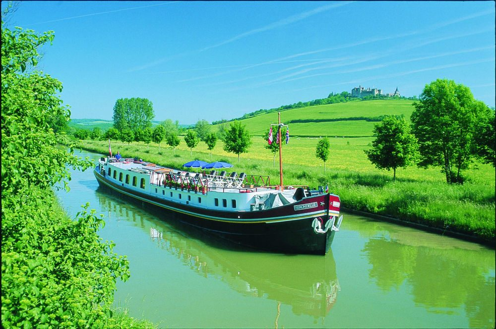 The eight-passenger barge Hirondelle cruising in Champagne, France