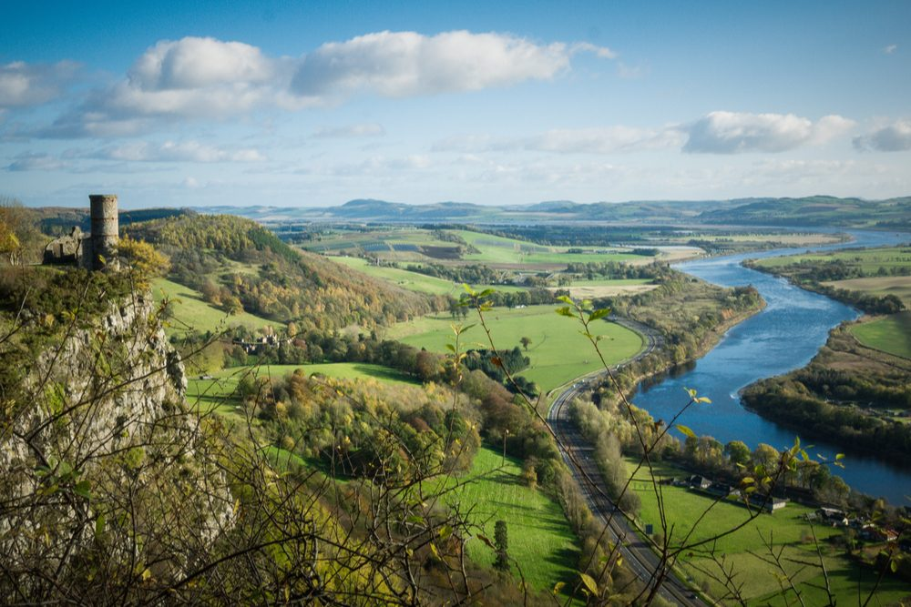 Kinnoull Hill tower ruins, Perth Scotland, overlooking the River Tay on a clear day