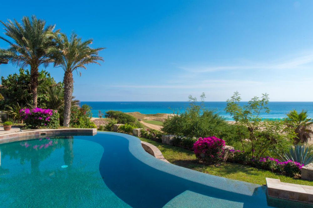 pool overlooking ocean at a villa in Los Cabos Mexico