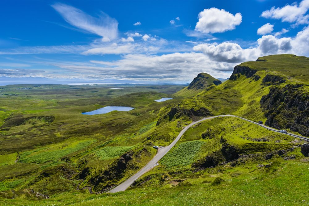 green lanscape of Isle of Skye Scotland