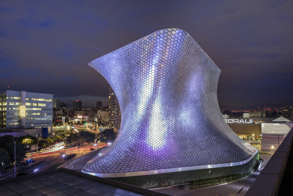Mexico City, Mexico - August 26, 2016: Museum Soumaya at night in the with over 66,000 works from 30 centuries of art is located in Nuevo Polanco.