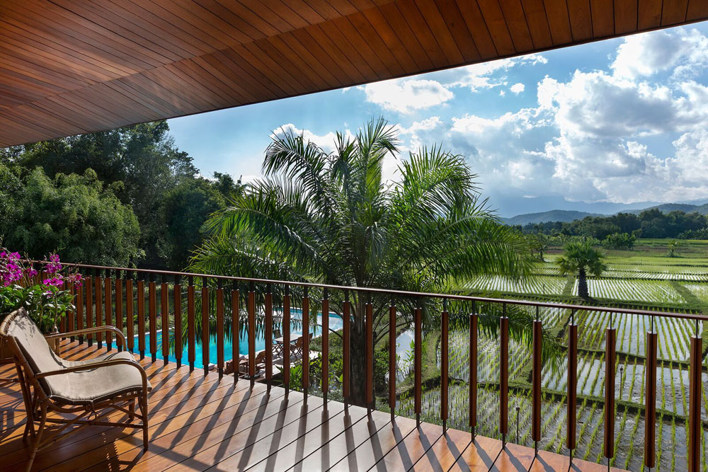 Balcony view from one Pa Sak Tong's villas in Chiang Rai, Thailand