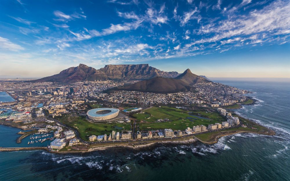 Aerial view of Cape Town from a helicopter tour