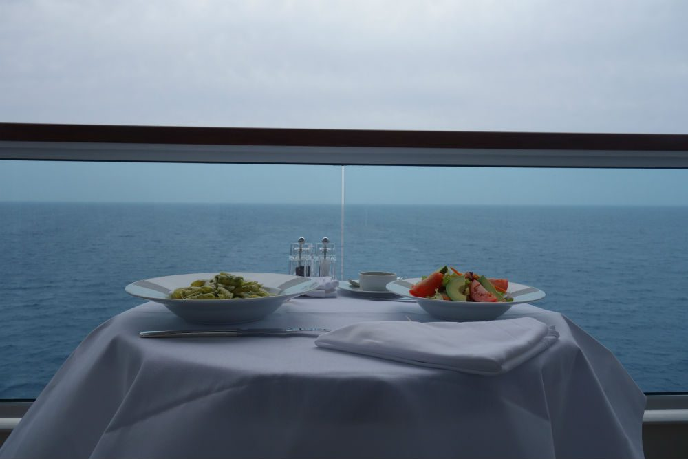 Meal on cruise ship balcony Seabourn Ovation