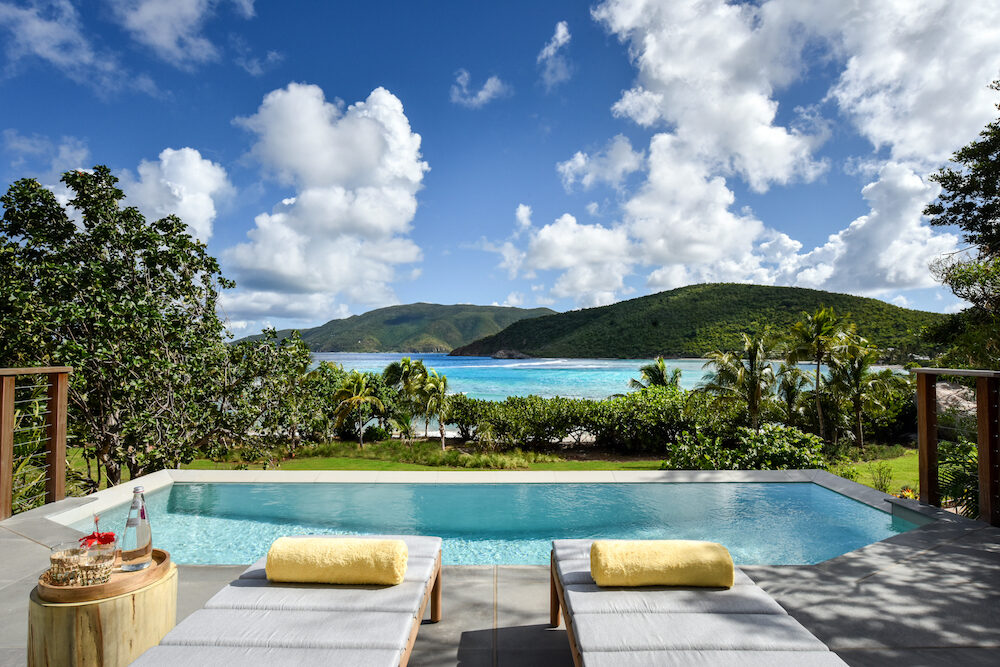 Pool overlooking ocean in an Ocean view suite at Rosewood Little Dix Bay in Virgin Gorda British Virgin Islands