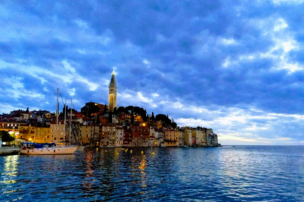 view of water and town Rovinj Croatia