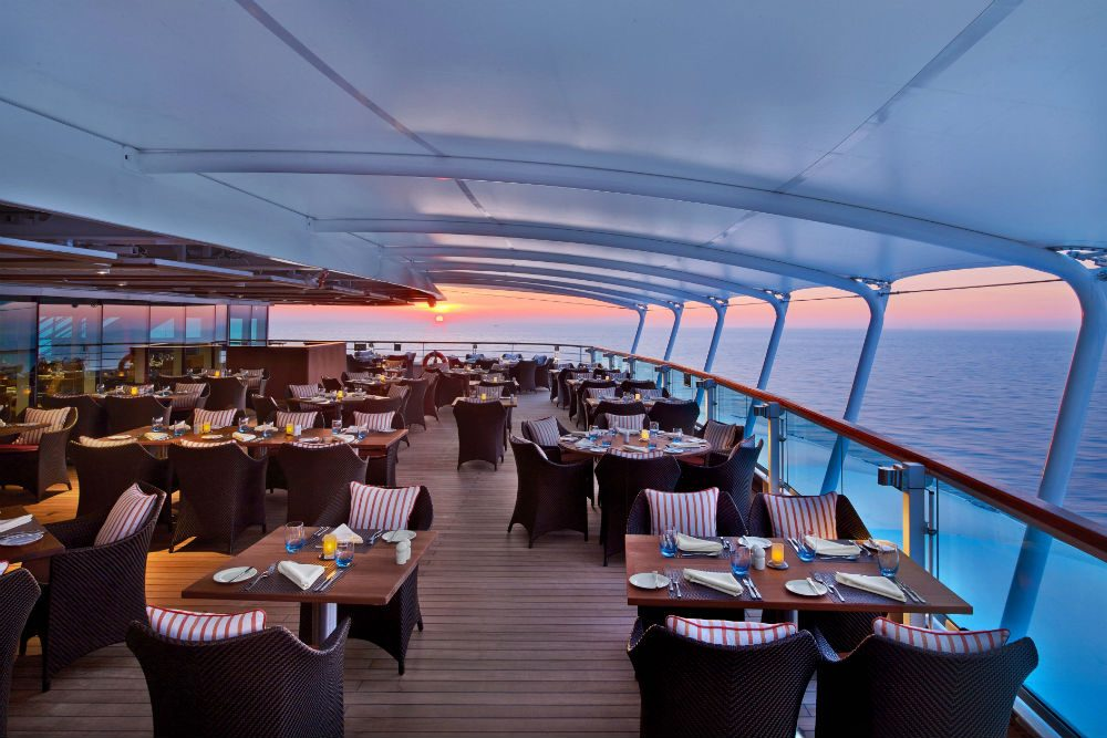 The Colonnade dining area on the Seabourn Ovation cruise ship