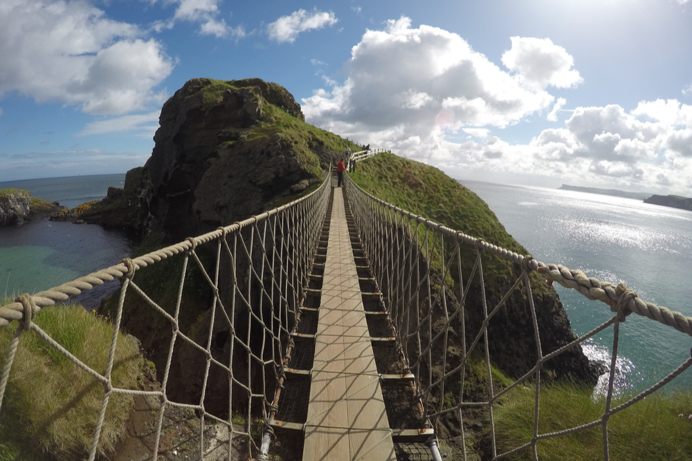 Carrick a rede rope bridge in North Antrim, Northern Ireland