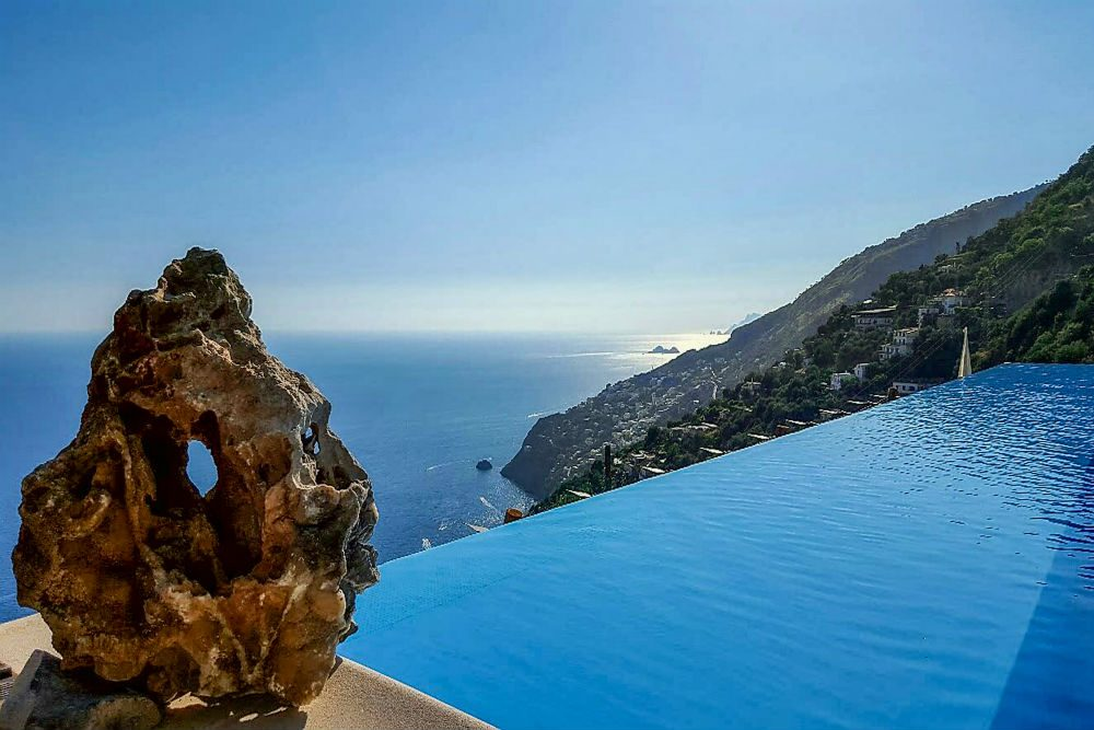 View from the infinity pool of Il Maniero, a villa on Italy's Amalfi Coast