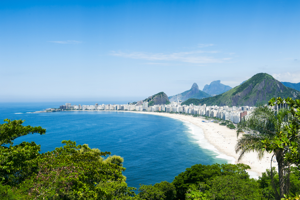 Tropical view of Copacabana Beach with city skyline of Rio de Janeiro Brazil aerial view