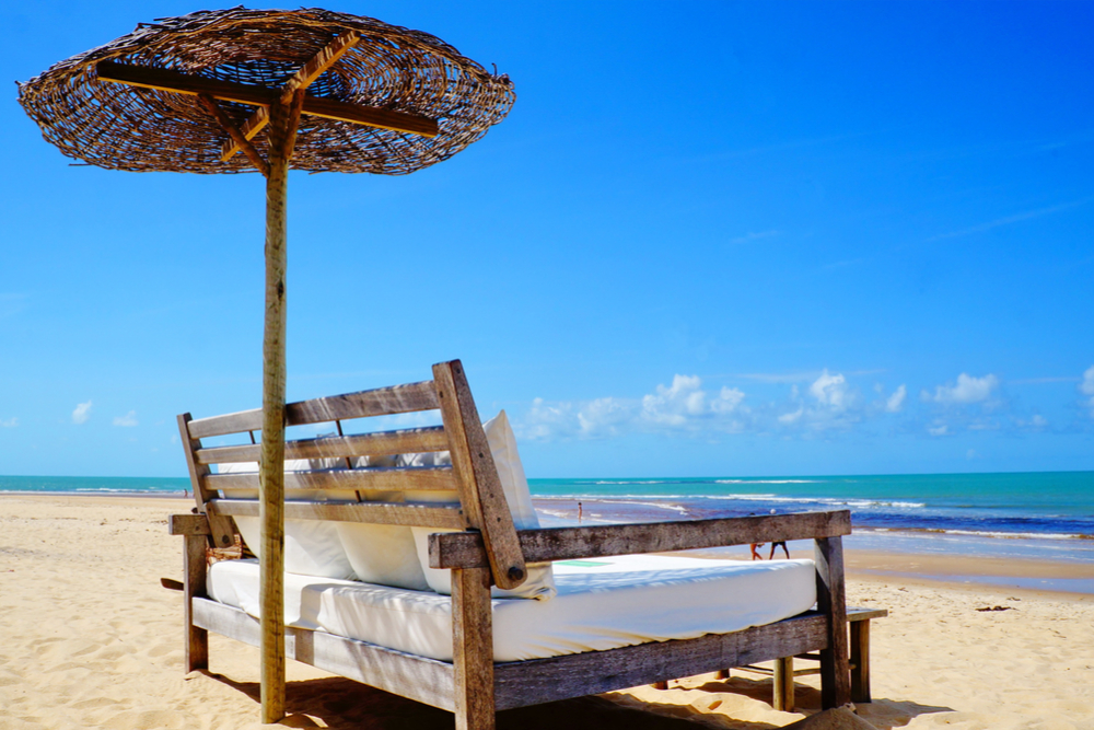 Beautiful Trancoso beach near Porto Seguro in state of Bahia, Brazil